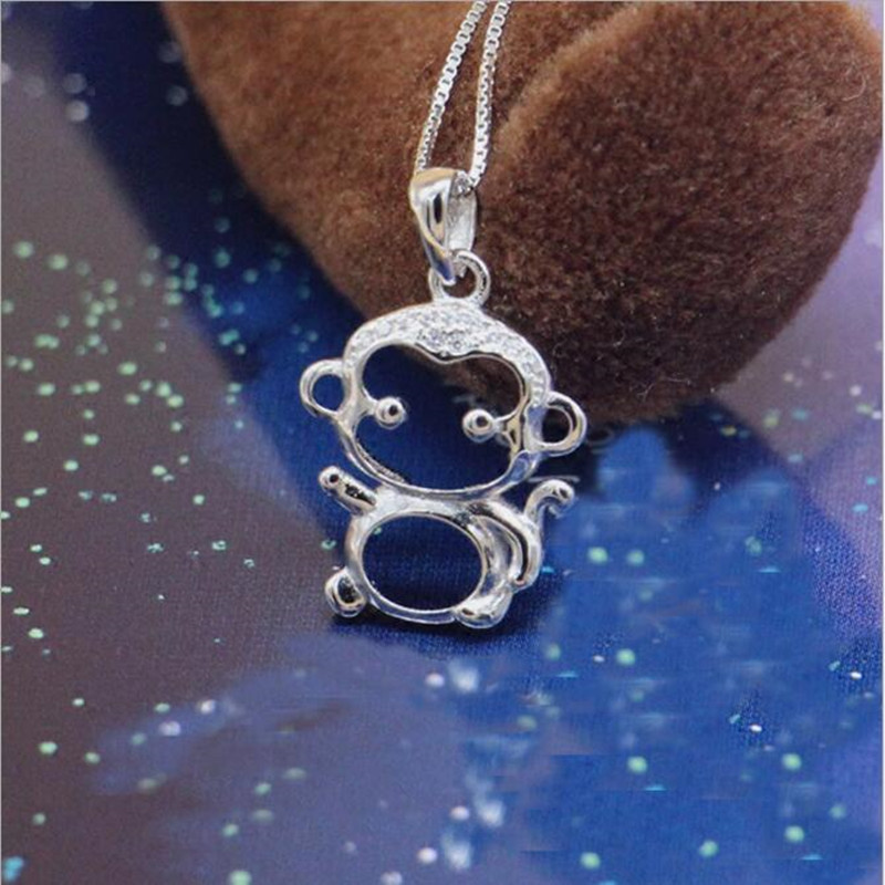 Free Shipping New Fashion Cute Exquisite Animal 925 Sterling Silver Jewelry Personality Monkey Pendant Necklace H97