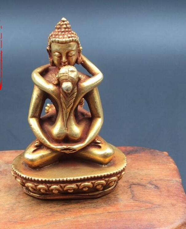 Tibetan Vintage Buddhism Old Bronze God Buddha guanyin Statue 22cm