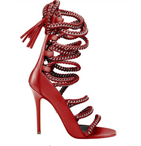 Summer New Arrival Patchwork Unique Dress Pumps Red Beige Black Lace Up Chain Strappy Sandals Gladiator Cut-Outs Dress Shoes stiletto heels high cut beige black suede sandals patchwork stretch cross strappy gladiator sandals elastic fabric dress shoes page 8