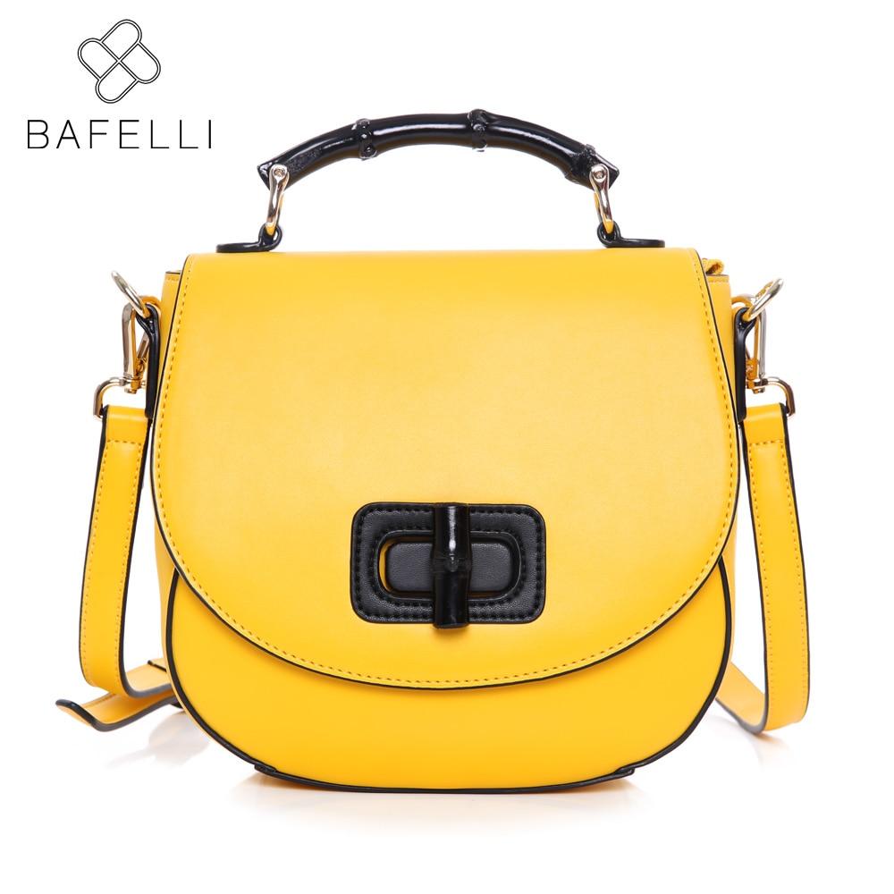 цена BAFELLI Women Bamboo handle Luxury Handbag Fashion Lemon Yellow Designer Tote crossbody messenger bag bolsa feminina sac a main в интернет-магазинах