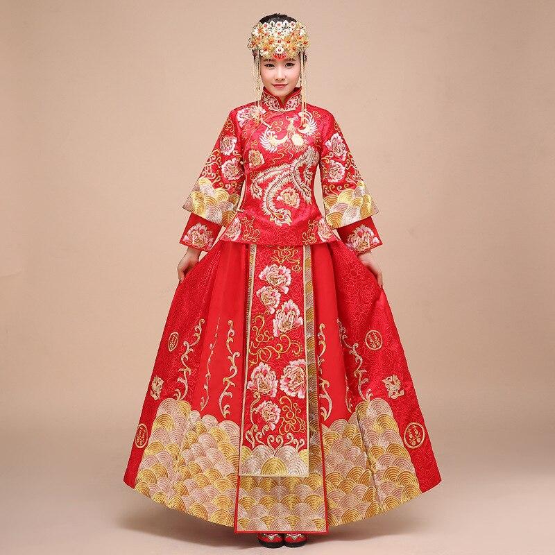 National Chinese Traditional Wedding Dress Plus Size Satin Cheongsam Long Bride Traditions Women Phoenix Embroidery Qipao Woman
