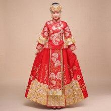 Купить с кэшбэком National Chinese Traditional Wedding Dress Plus Size Satin Cheongsam Long Bride Traditions Women Phoenix Embroidery Qipao Woman