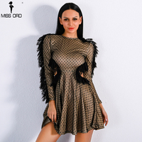 Missord 2017 Sexy Long Sleeve Lace Decoration Backless Dresses Women High Neck Mottle Mini Dress FT8896
