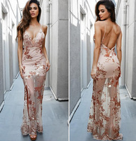 2017 Women See Through Floral Print Sexy Backless Long Dress Summer Straps Evening Party Dresses Vestidos De Festa Side Slit