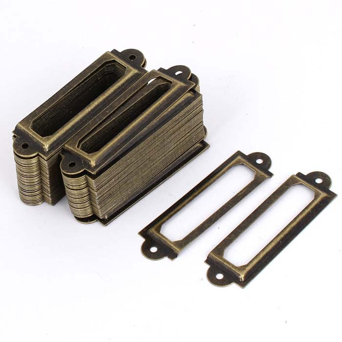 Antique Bronze Finish Filing cabinet Label Holders, Drawer Cupboard door Name Tag Card Holder, Metal Label Frames 60mm*17mm 12 pcs antique bronze label tag pull frame handle name card holder for furniture cabinet free shipping