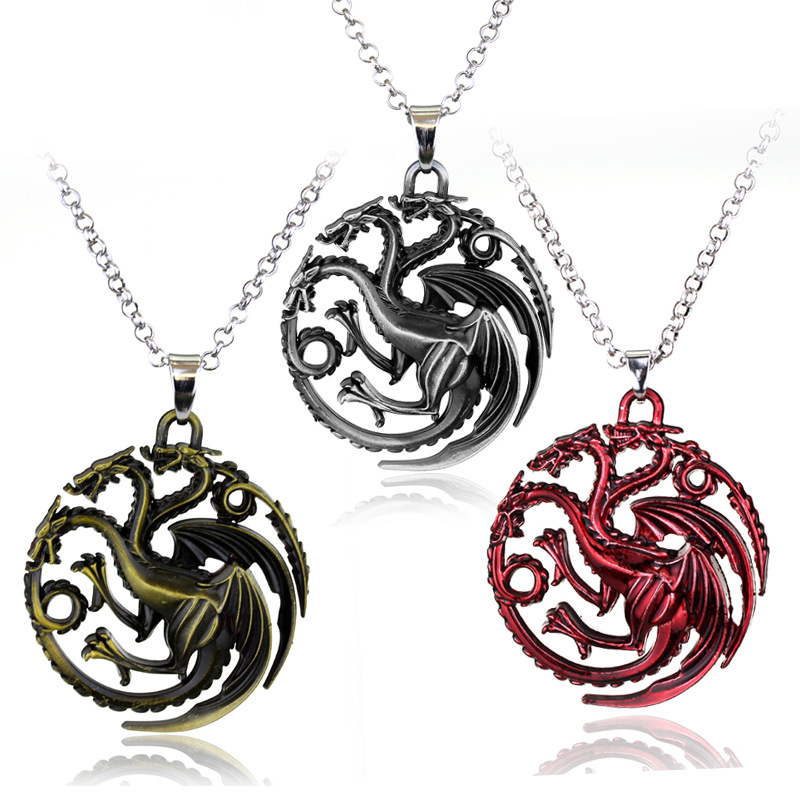 2 Colors Hot Movie Song of Ice And Fire Series Games Powers Torque Targaryen Dragon Badge Pendant Necklace For Lovers' Gifts image