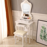 White Vanity Makeup Dressing Table Set with Stool 3 Drawer & Mirror Jewelry Wood Desk US Shipping