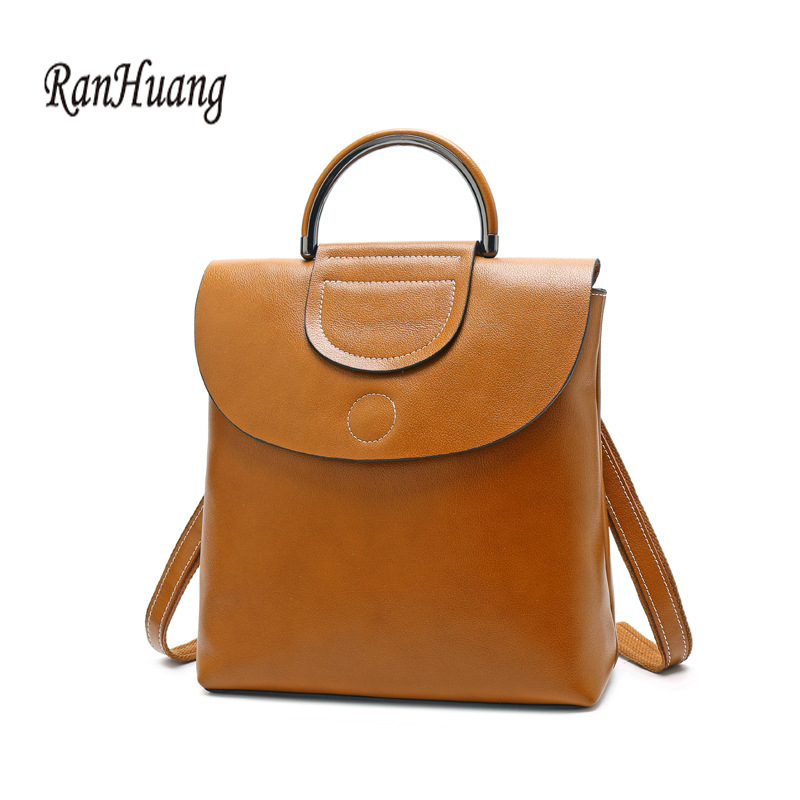 Ranhuang Genuine Leather Women Backpacks For Female Oil Wax Vintage Backpack Cow Leather Ladies Double Shoulders Bags