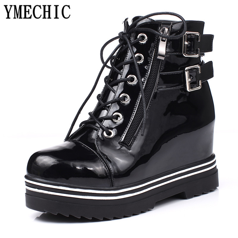 YMECHIC 2018 Lace Up Winter Platform Boots Women Rock Buckle Strap Patent  Leather Gothic Punk Combat Ankle Boots Plus Size Shoes-in Ankle Boots from  Shoes ... a293d7ae440c