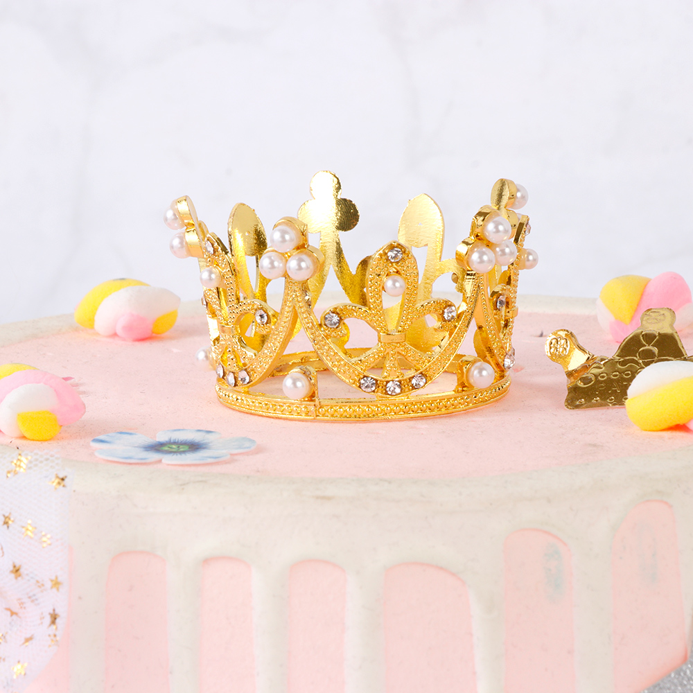 Shining Mini Metal Crown Pearl Birthday Topper Wedding Cake /& Engagement Decor