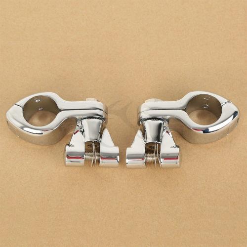 1.25 32mm Chrome Pinless Engine Guard Footpeg Clamps Mounting Kit For Harley Softail Fat Bob Honda Kawasaki