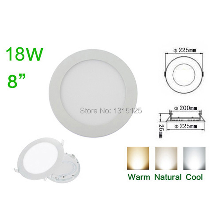 2015 Top Fashion Sale High Quality Lumens 18w Led Panel Lightsround Recessed Ceiling Light Wholesale Ac85-265v Downlight Bulbs