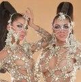 Cristales brillantes Headress Cadenas Etapa Desgaste Del Partido Diamante Celada