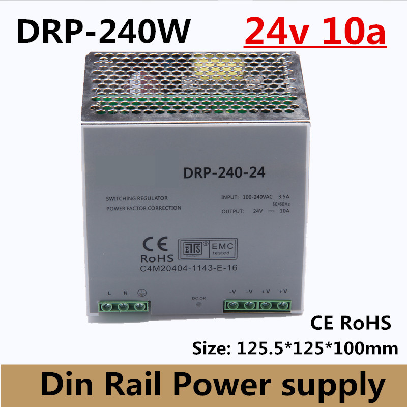 цена на (DR-240-24) Hot! Single Output Din Rail Power Supply Transformer 240W DC 24V 10A Output SMPS high power CE RoHS approval