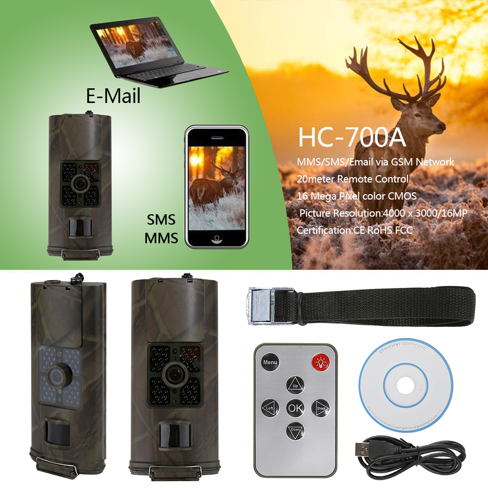 HC700A Hunting Trail Camera Wildlife Scouting Camera Night Vision Hunting Camera HC 700A Hunting Camera Photo Traps hc   550g hunting camera four languages