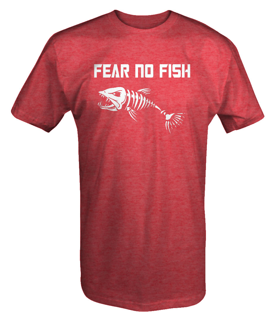 Fear No Fish Skeleton Fishinger Huntinger Bass Walleye T Shirt Men S
