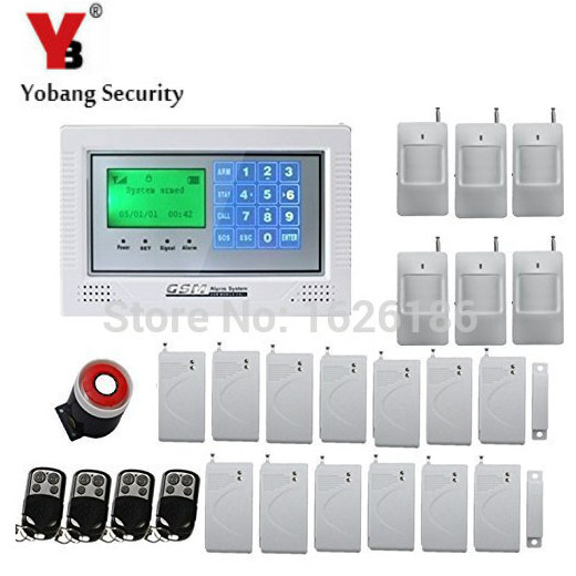 YobangSecurity Wireless Wired GSM Alarm System Touch keypad Display Security System Pir Motion Smoke Detector Door Window Sensor yobangsecurity touch keypad wifi gsm gprs home security voice burglar alarm ip camera smoke detector door pir motion sensor
