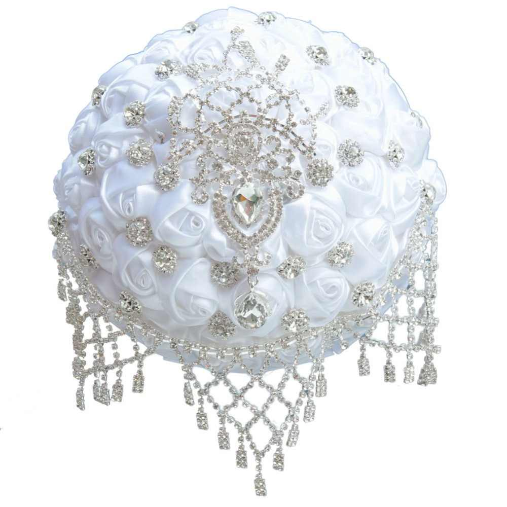 JaneVini หรูหราคริสตัล Rhinestone สีขาวซาติน Rose Wedding Bridal Bouquet ประดิษฐ์ Bruidsboeket Buque De Noiva