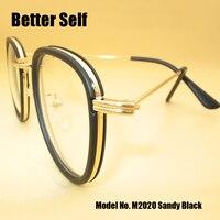 Lepiej Samo Vintage Marka Projekt M2020 Mężczyźni Kobiety Okulary Okrągłe Okulary Optyczne Rama Retro Óculos De Grau Femininos Gafas