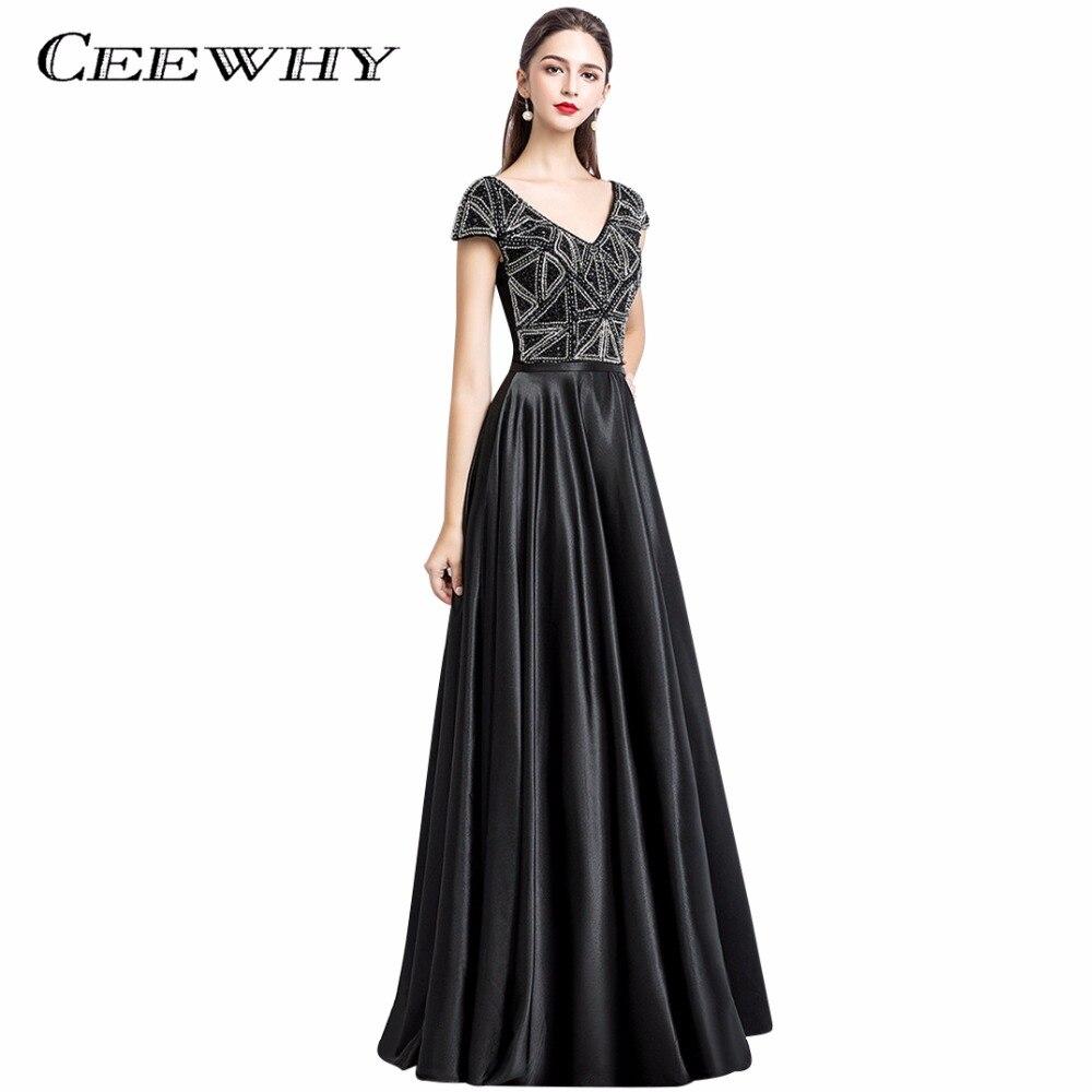 CEEWHY Satin Gold Evening Dress Long 2018 Prom Dresses Robe De ...