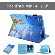 New Colorful Print Stand Case For iPad mini 4 PU+ TPU Case 7.9'' Shockproof Slim Tablet Cover For Apple iPad mini 4 A1538 A1550 fashion pu leather case for ipad mini 4 stand cover akr 2016 new arrival free shipping slim light weight scratch resistant