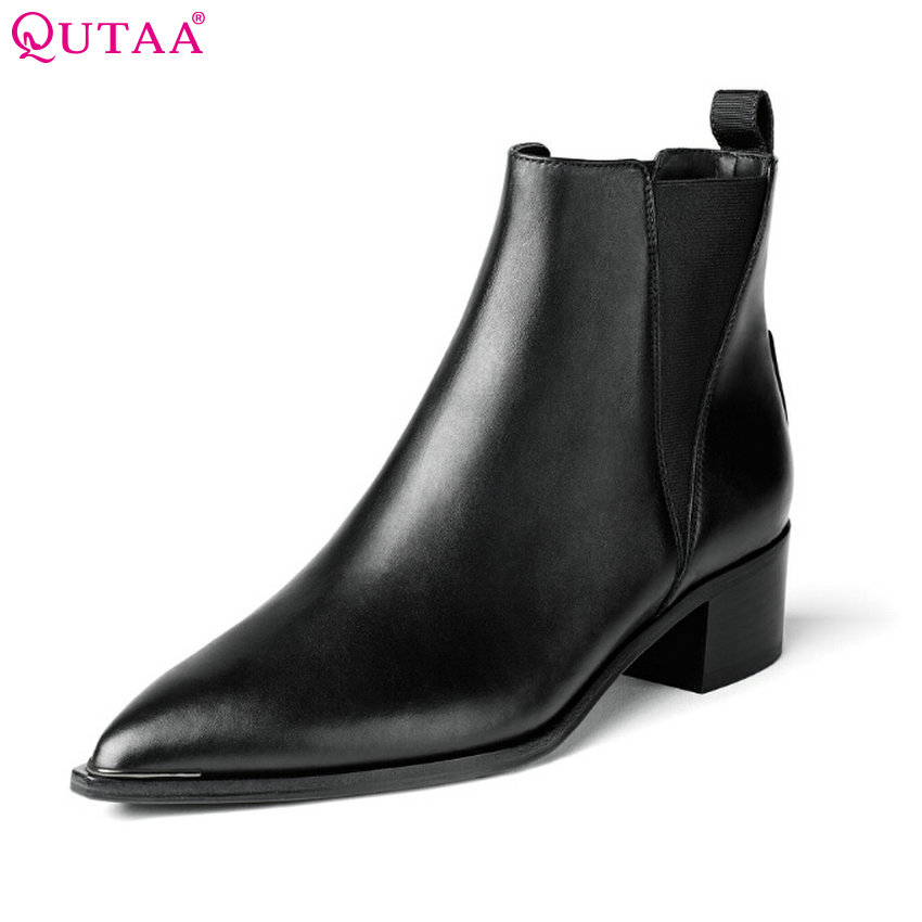 QUTAA Black Square Low Heel Woman Genuine leather Pointed Toe Ankle Boots Women Shoes Ladies Motorcycle Boot Size 34-43 qutaa 2017 ladies summer shoes pointed toe heel woman flat shoes genuine leather bow tie black women ballet flats size 34 39