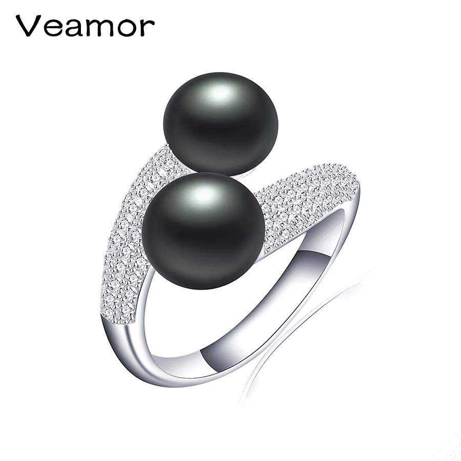 Veamor Pearl Ring Engagement Rings 2 Prongs Setting Black Pearl Anel Jewelry  For Women Love Bague