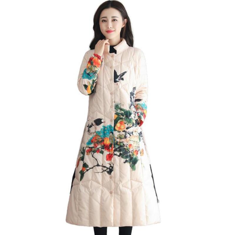 Women's Winter   Coat   Duck   Down   Warm Jacket 2018 National Wind Vintage Print Stand collar Parkas Long   Down     Coat   Overcoat