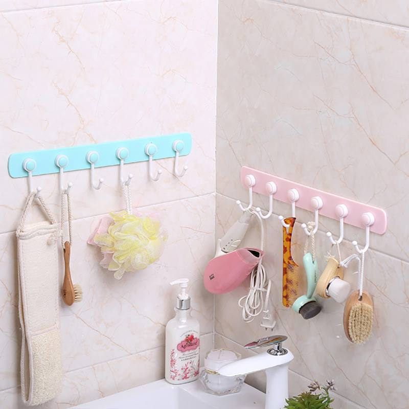 Useful Bathroom Kitchen Adhesive Hooks Shelf Hanger Organizer Stick On Wall Hanging Door Clothes Towel Holder