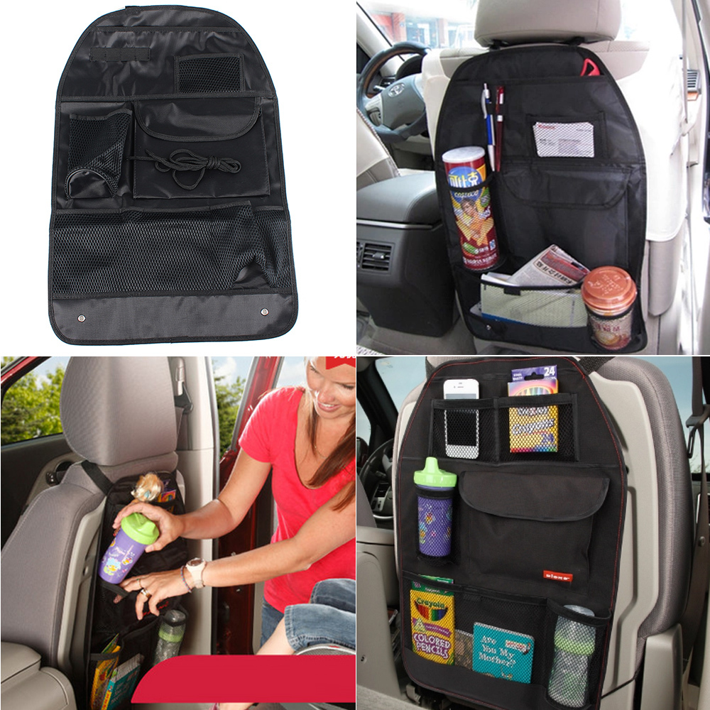 Car Seat Back Storage Black Seat Chair Back Hanging Foldable Organizer Black Multi-Pocket SeatBack Holder Bag Storage Bags