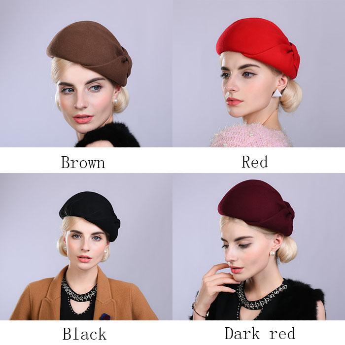 f755b876867d3 Fibonacci Noble Elegant Women Wool Felt Beret Bride Headdress Fedora Hat  Dinner Party Wedding Hats