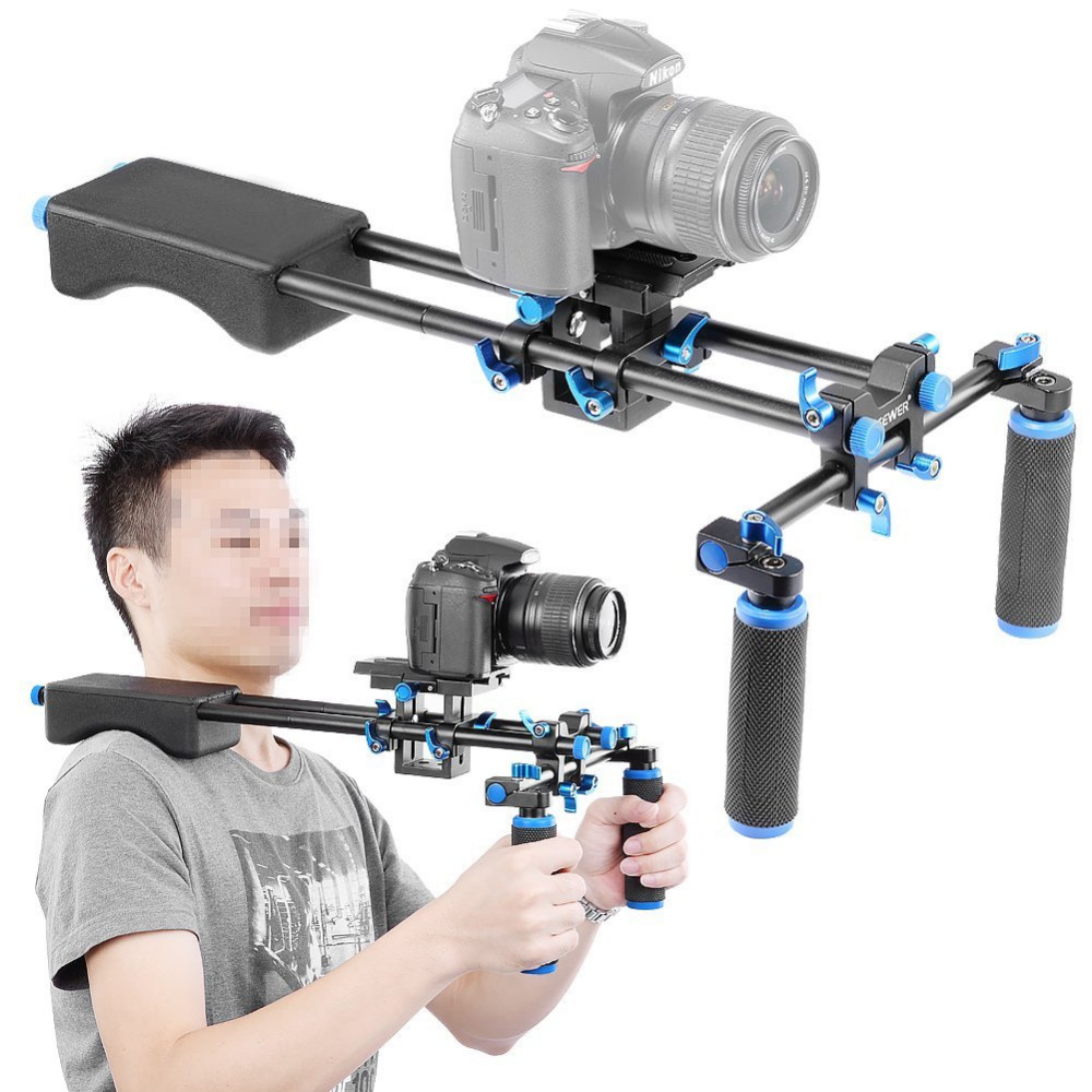 Neewer Portable FilmMaker System With Mount Slider, Soft Rubber Shoulder Pad and Dual-hand Handgrip For All DSLR Video Cameras neewer dslr shoulder mount support rig with camera camcorder mount slider shoulder double hand handgrip c shape for canon nikon