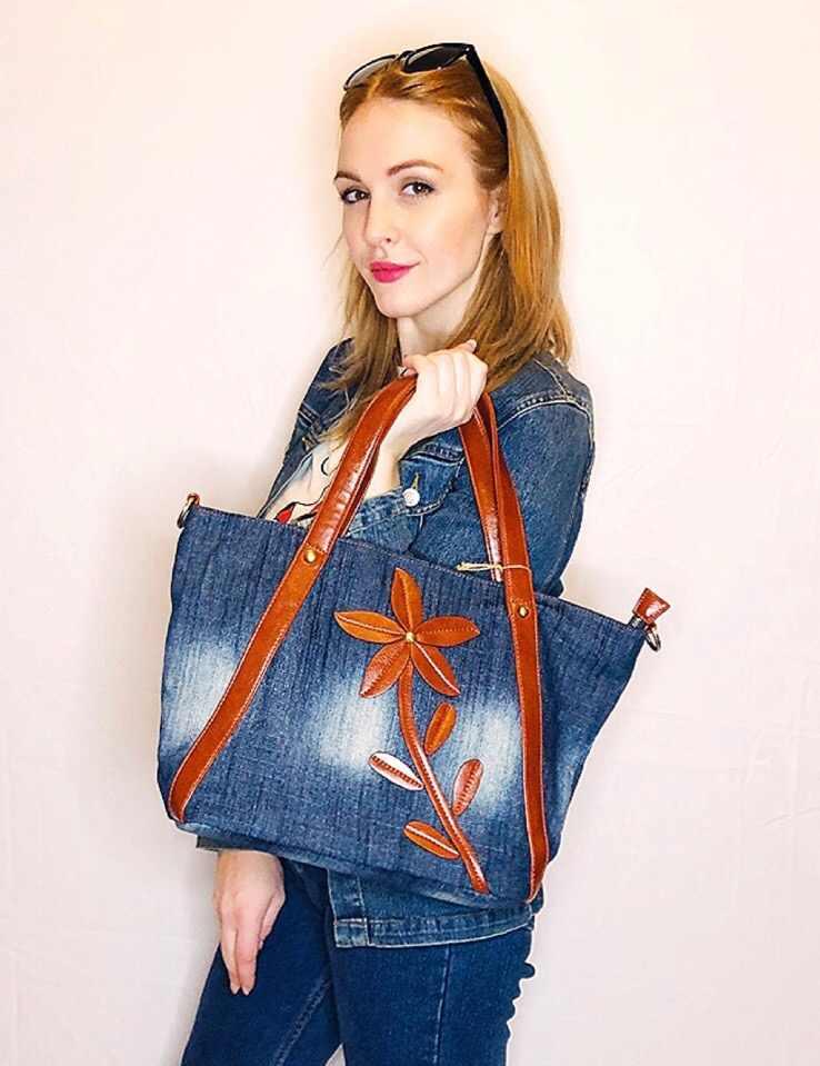 Kiss Karen/винтажная модная джинсовая сумка с цветочным принтом, дизайнерская женская сумка, Прочные Женские сумки на плечо, джинсы, женские сумки, Новое поступление