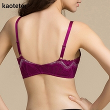100% Pure Silk Women's Front Buckle Bras Women Wire Free Chest Thin 3/4 Cup Female Bra Sexy Lace Solid Black Woman