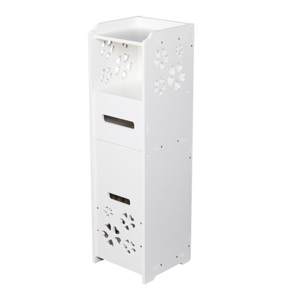 3-tier Bathroom Storage Cabinet with Garbage Can 25*25*80CM White Small Bathroom Vanity Floor Standing Bathroom Storage Cabinet