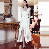 HIGH QUALITY New Fashion Runway 2018 Designer Dress Women's Square Collar Double Breasted Slit Dress Size S XL