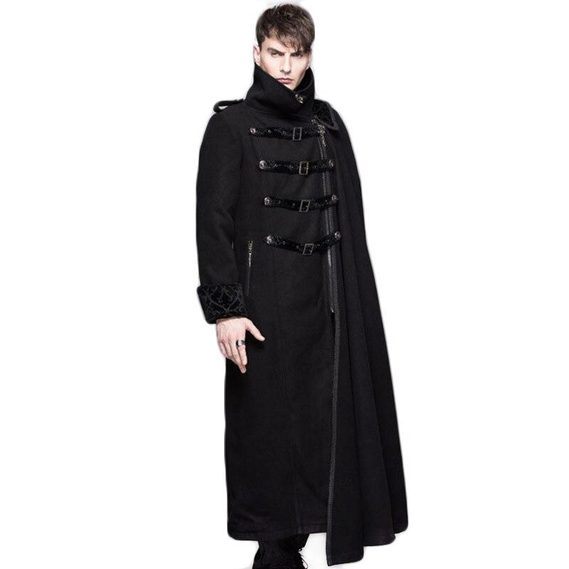 Steampunk 남자 분리 가능한 목도리 트렌치 코트 겨울 긴 소매 치킨 재킷 스탠드 칼라 윈드 파커 남성용 자켓 코트