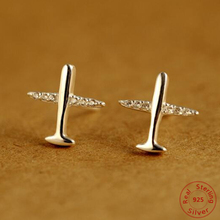 adf08ef0d 925 Sterling Silver Aircraft Airplane Plane Stud Earrings Women's with Clear  CZ Handmade Jewelry
