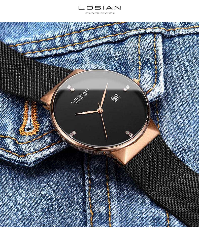 LOSIAN Men Watch Waterproof New 8mm Slim Watch Top Brand Luxury Calendar Fashion & Casual Watches Men's Watch Male Clock