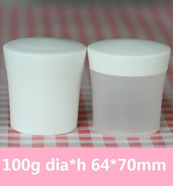 30pcs / lot 100g PP smrznjena bela kremna posoda slim pasu kozmetična pločevinka posoda za solno maslo Jar z notranjim pokrovčkom 100ml frosting Jar