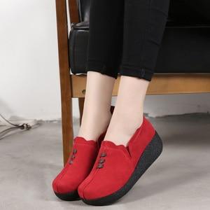 Image 2 - Dobeyping אביב סתיו נשים נעלי פרה זמש עור אישה של דירות עבה בלעדי נשי פלטפורמה מזדמנים גבירותיי סניקרס