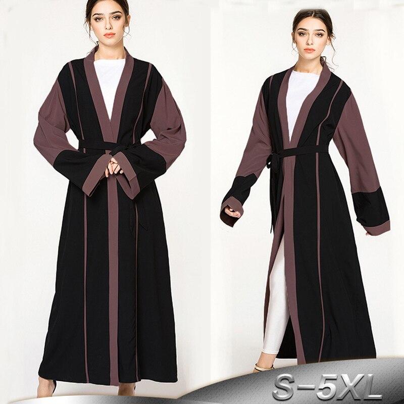 Plus Size 2019 Abaya Dubai Kimono Kaftan Islam Muslim Dress Abayas Women Long Cardigan Robe Hijab Dress Turkish Islamic Clothing