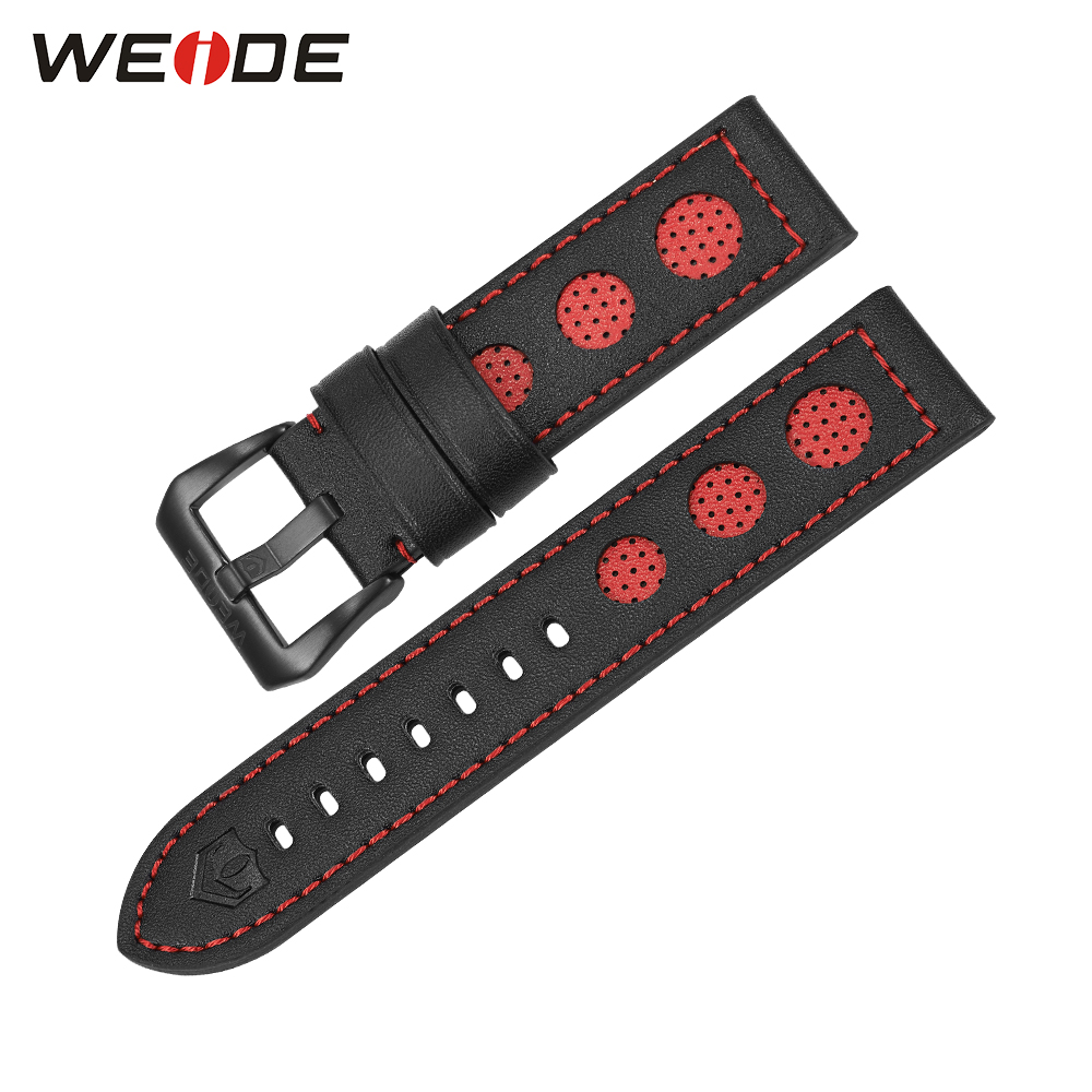 WEIDE Luxury Watches Genuine Leather Watch Strap For Men Red Color 21cm High Quality All Black Buckle Watch Bands ultra luxury 2 3 5 modes german motor watch winder white color wooden black pu leater inside automatic watch winder