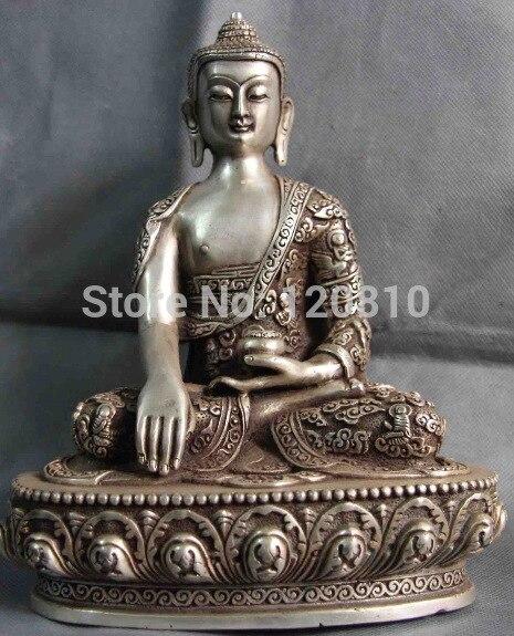 Tibet Buddhism Fane White Copper Silver Sakyamuni Tathagata Rulai Buddha Statue