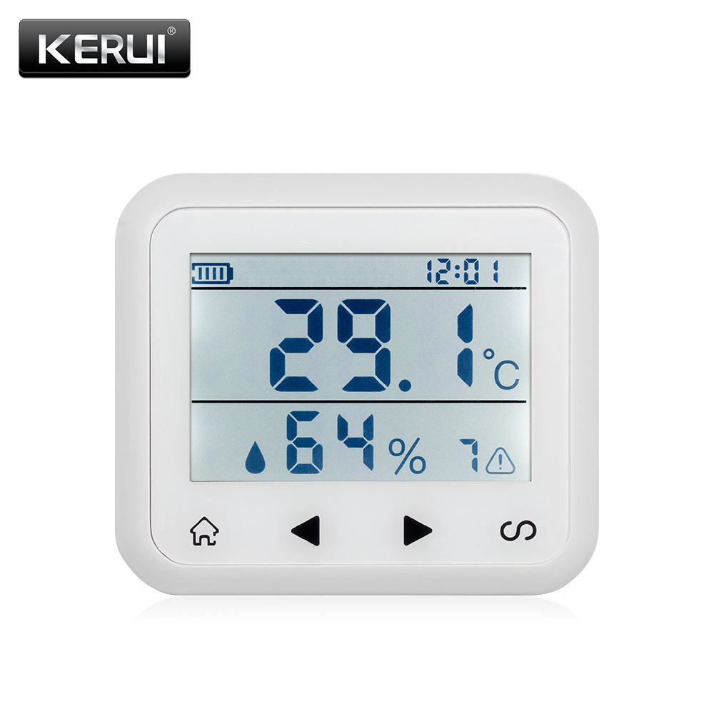 KERUI wireless LED Display Adjustable temperature and humidity Alarm sensor Detector protect the personal and property safety. new wired temperature adjustable detector for all the alarm system low high temperature alarm function led display alarm sensors