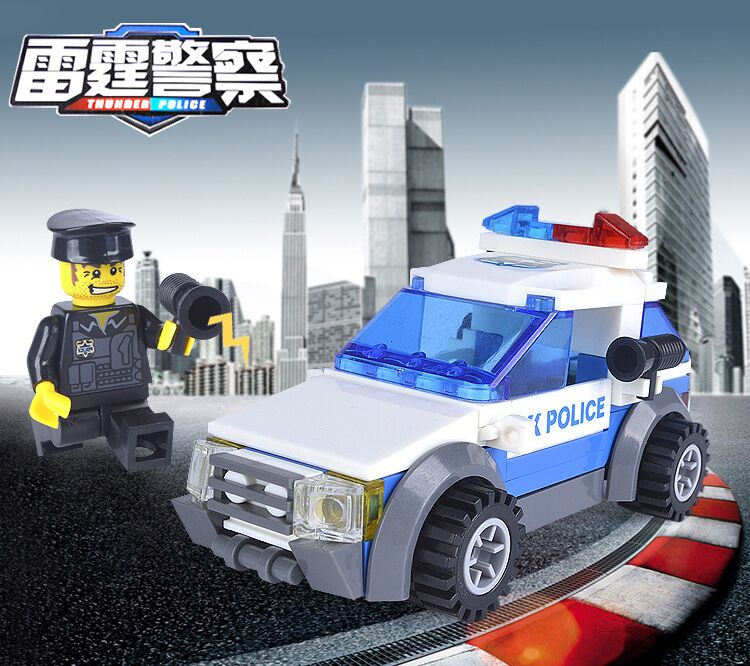 kazi 98305 80pcs city police car blocks toys assembled model building kits blocks toys christmas gift toys for children boys