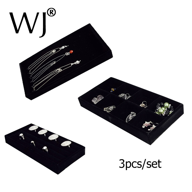 Shop Counter Top Jewelry Display Tray Kit for Ring Bracelet Necklace Beads Compartment Box Velvet Storage Organizer Showcase Set