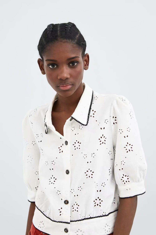 c3a4cef545fbb70 2019 za Женская хлопковая кружевная выдолбленная блузка с отложным  воротником вышитые рубашки Блузки Рубашки женские s Camisa Blusas