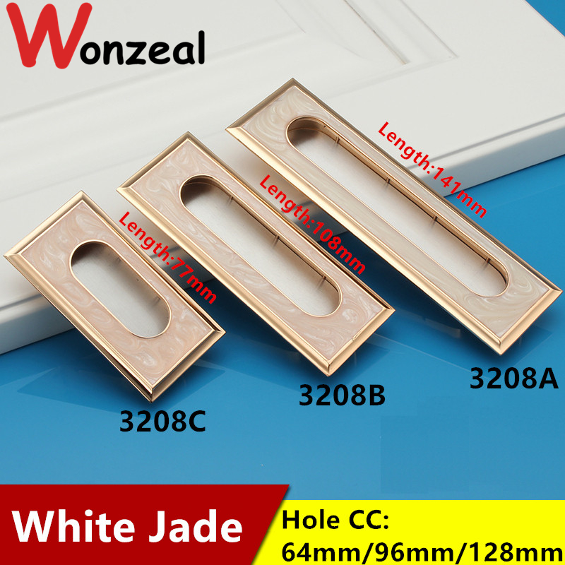 Hole CC 64/96/128mm Elegant White Jade hidden Furniture metal Handle pull For dresser Cabinet cupboard drawer