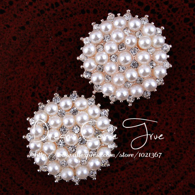50pcs lot 20MM 2Colors DIY Round Shape Metal Plating Flatback Bulk Button  For Flower Centre Clear Decorative Rhinestone Buttons d9afd3a114b2